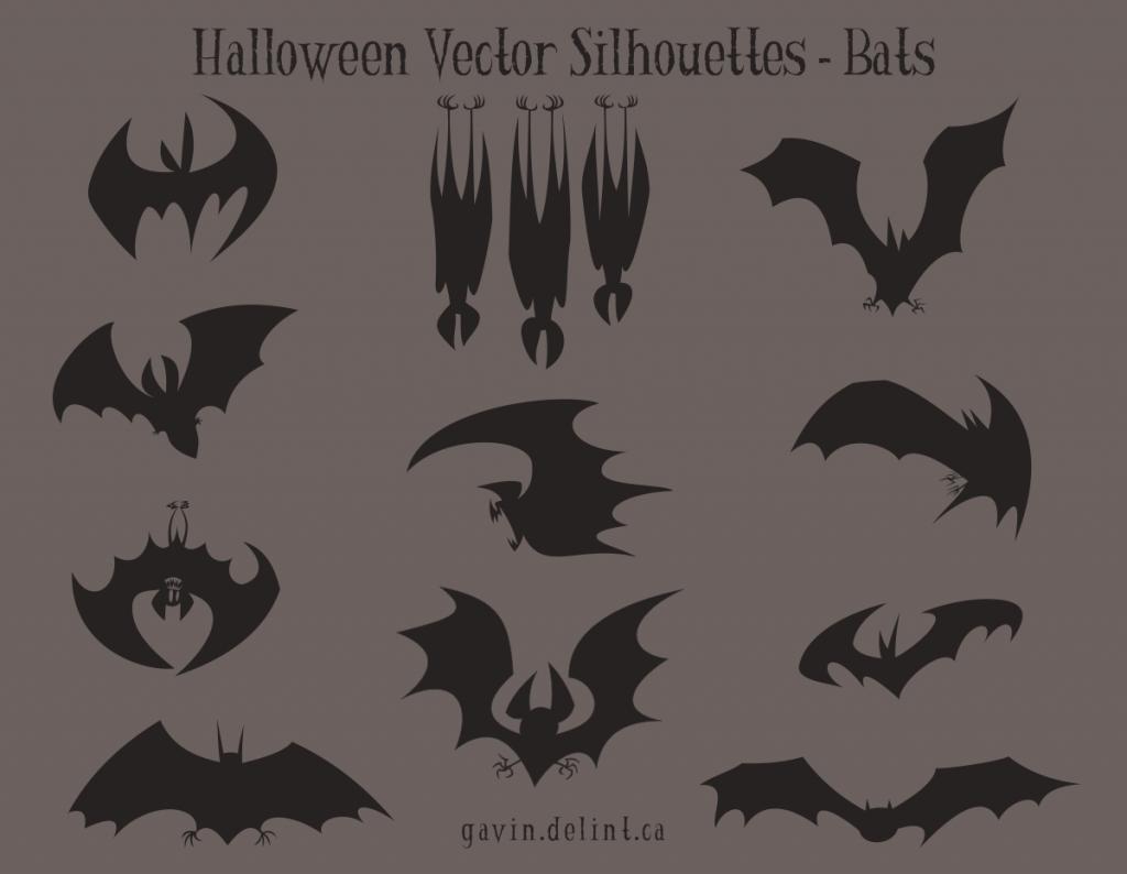 Halloween Vector Silhouettes - Bats