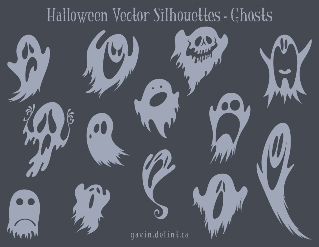 Halloween Vector Silhouettes - Ghosts