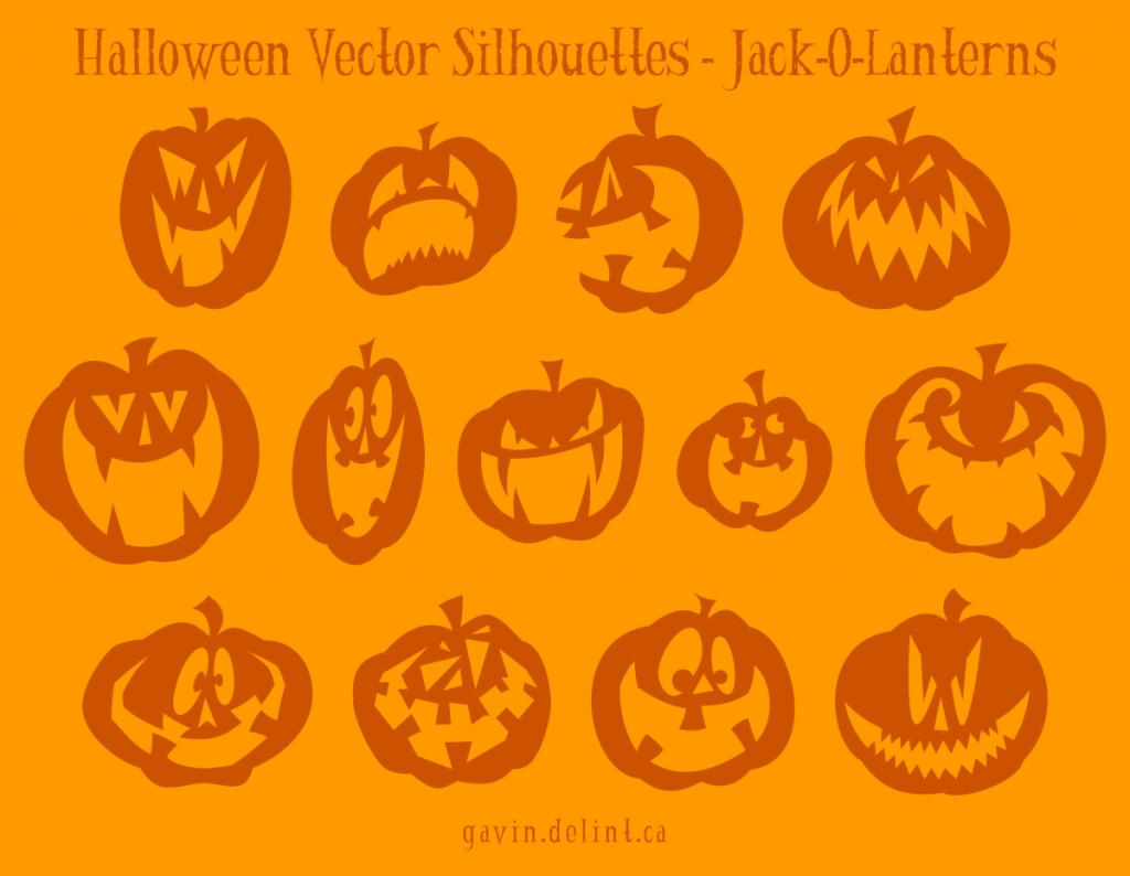 Halloween Vector Silhouettes - Jack O Lanterns
