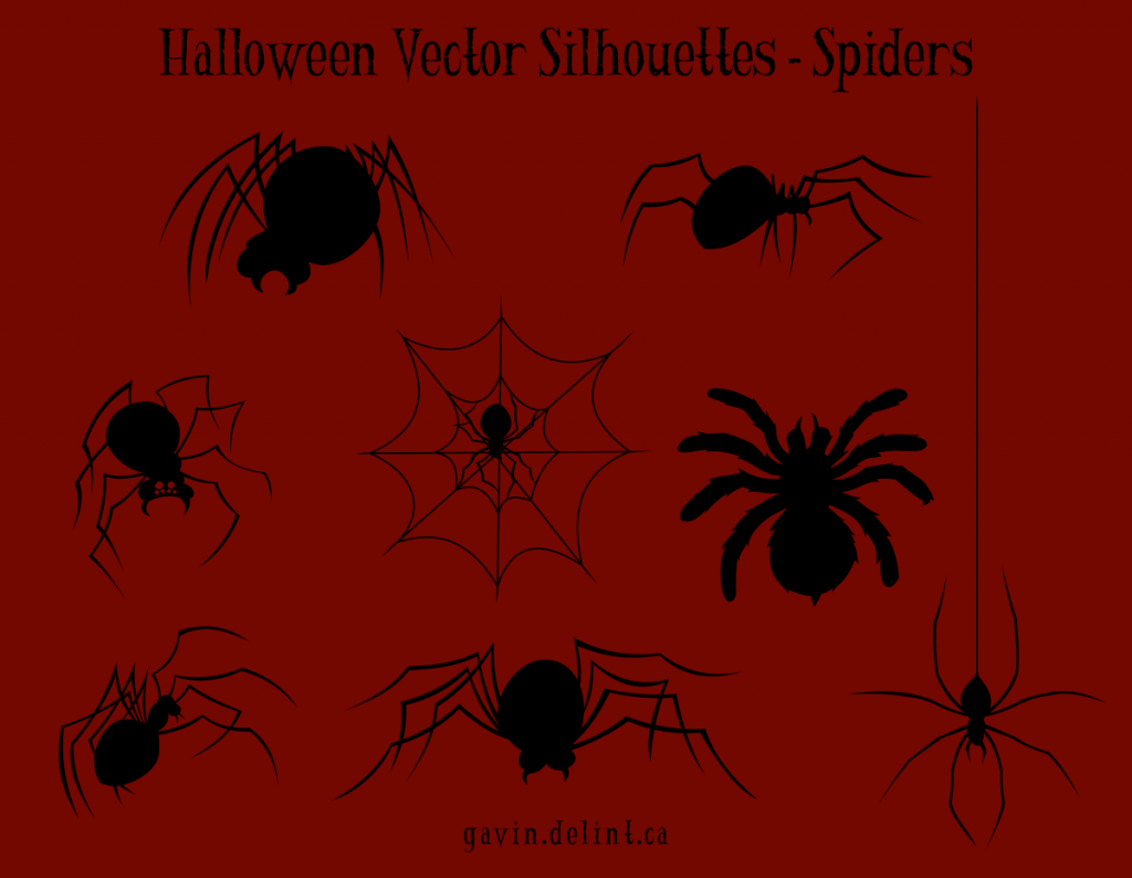 Halloween Vector Silhouettes - Spiders