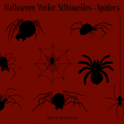 Halloween Vector Silhouettes – Spiders