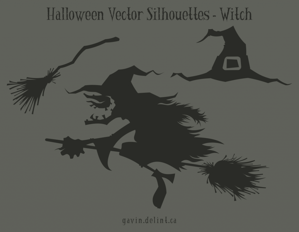 Halloween Vector Silhouettes - Witch